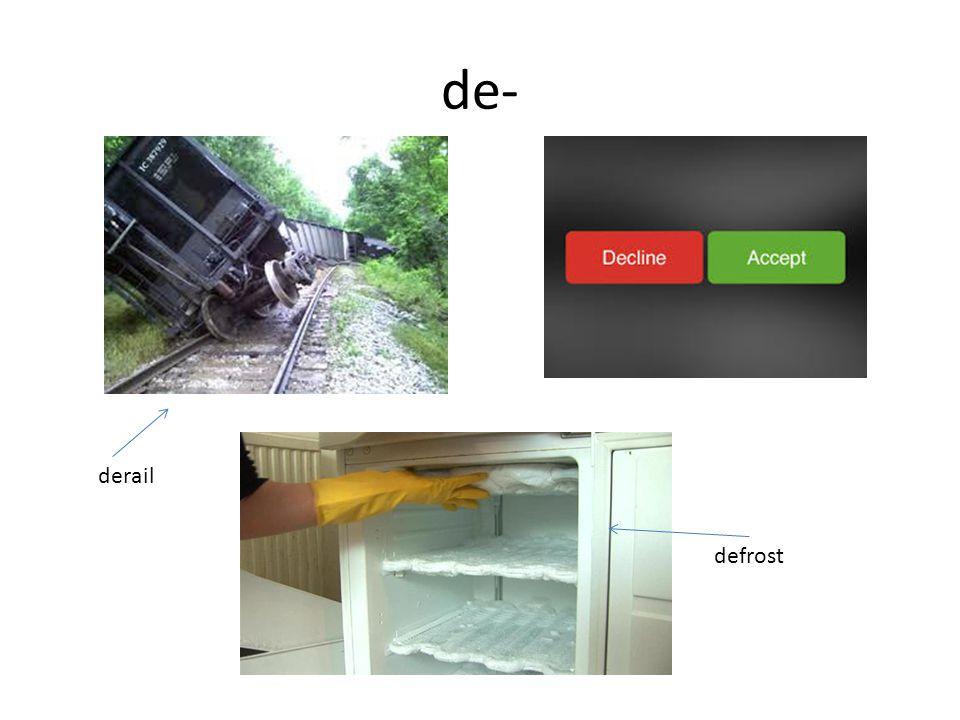 dis- The prefix dis- means: lack of; not; away.
