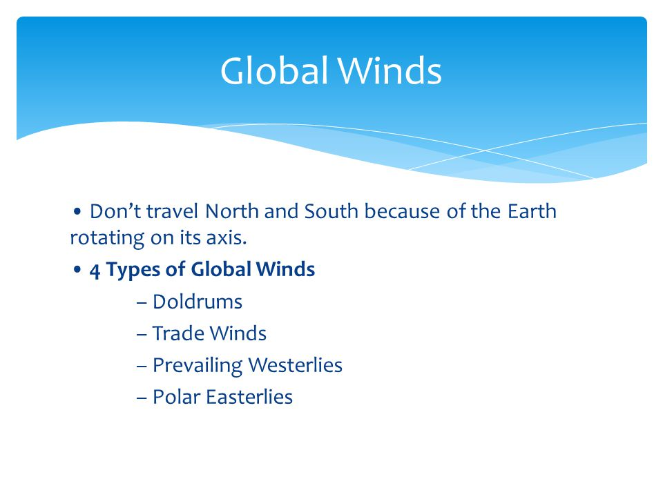 Don't travel North and South because of the Earth rotating on its axis. 4 Types of Global Winds – Doldrums – Trade Winds – Prevailing Westerlies – Pol