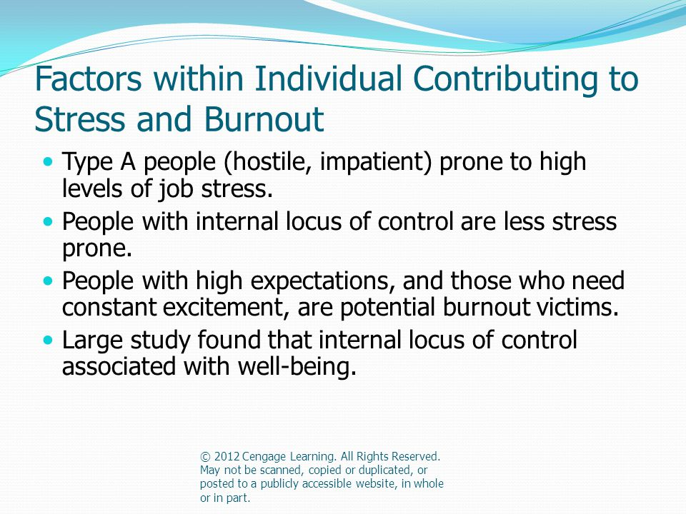 Factors within Individual Contributing to Stress and Burnout Type A people (hostile, impatient) prone to high levels of job stress.