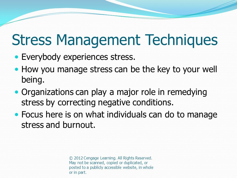 Stress Management Techniques Everybody experiences stress.