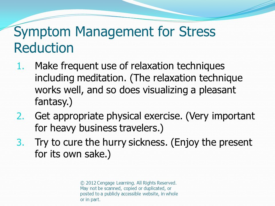 Symptom Management for Stress Reduction 1.