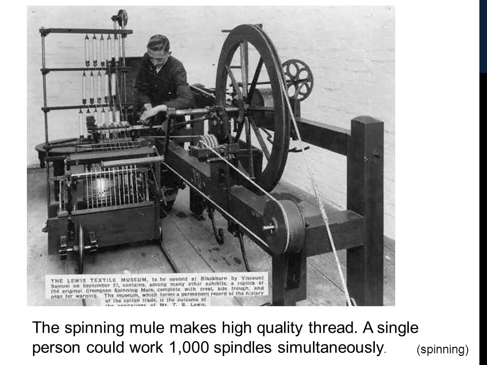 The spinning mule makes high quality thread. A single person could work 1,000 spindles simultaneously. (spinning)