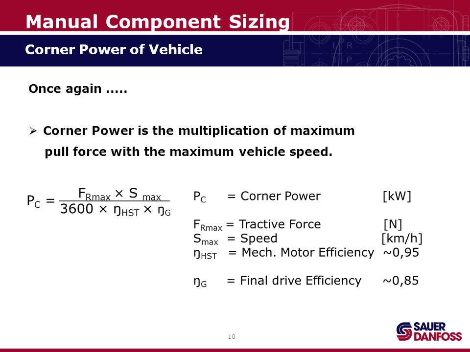 10 Manual Component Sizing Corner Power of Vehicle Once again.....