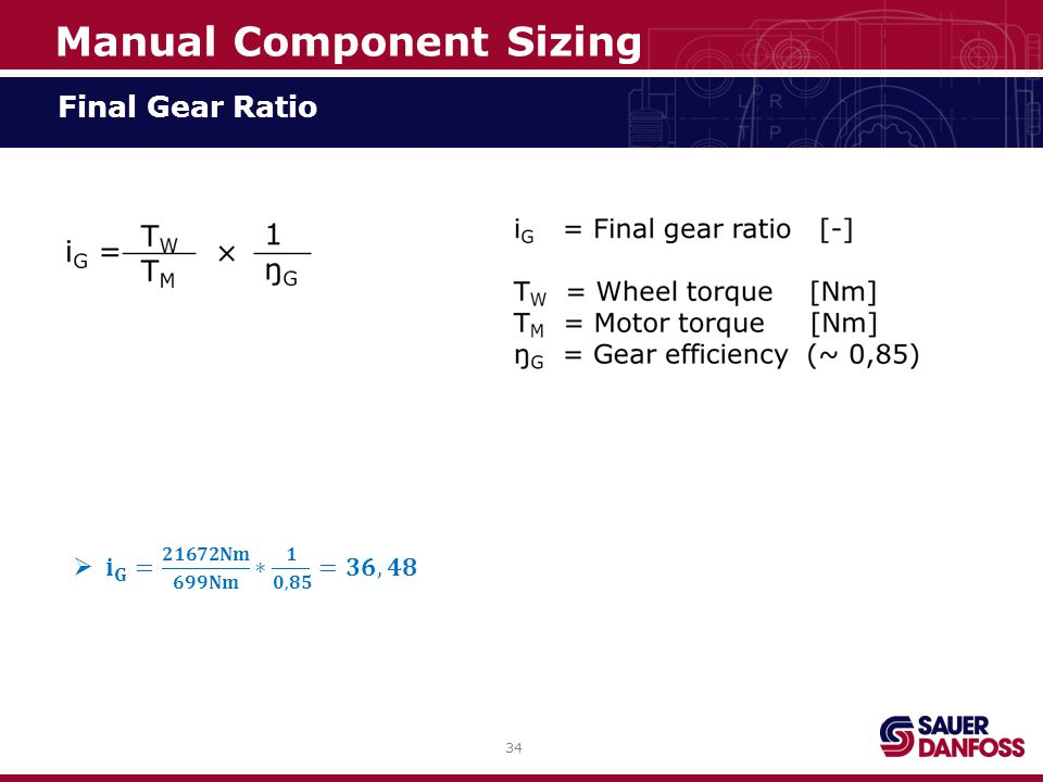 34 Final Gear Ratio Manual Component Sizing