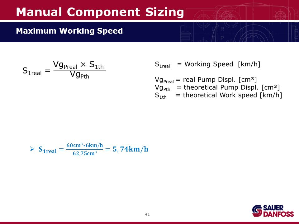 41 Maximum Working Speed Manual Component Sizing