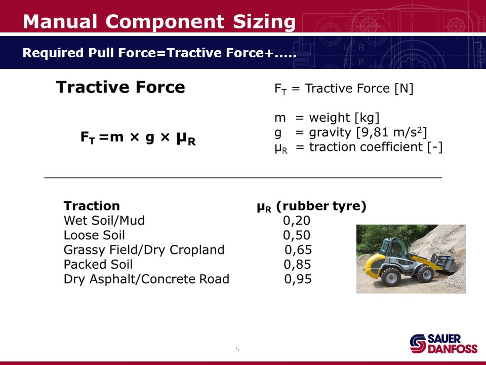 6 Manual Component Sizing Required Pull Force=Tractive Force+Rolling Resistance+.....