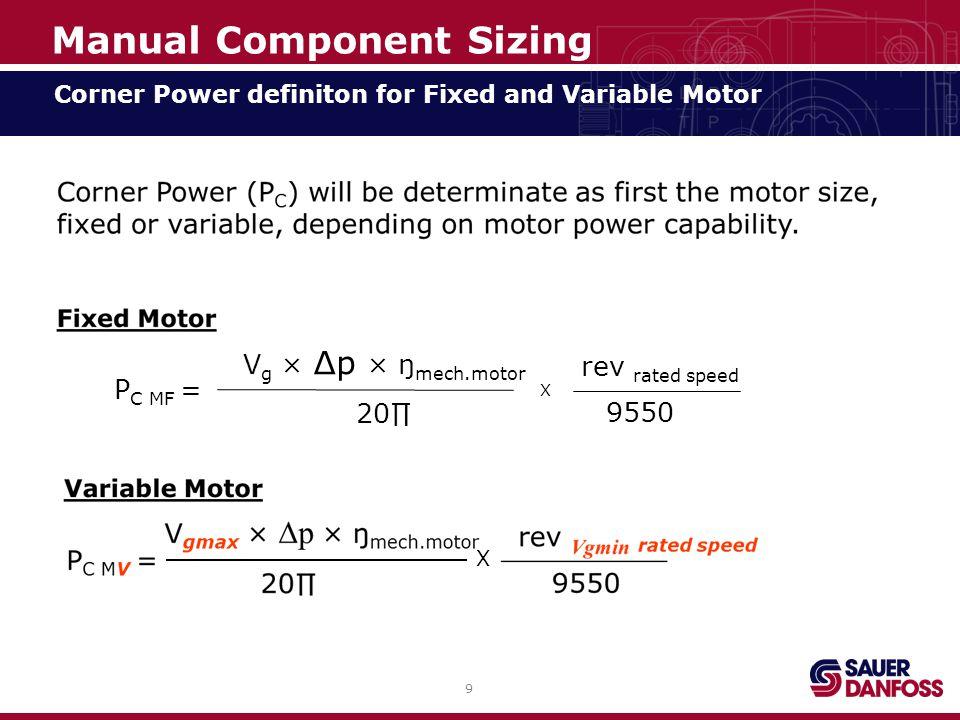 40 Minimum Displacement at maximum Vehicle Speed Manual Component Sizing