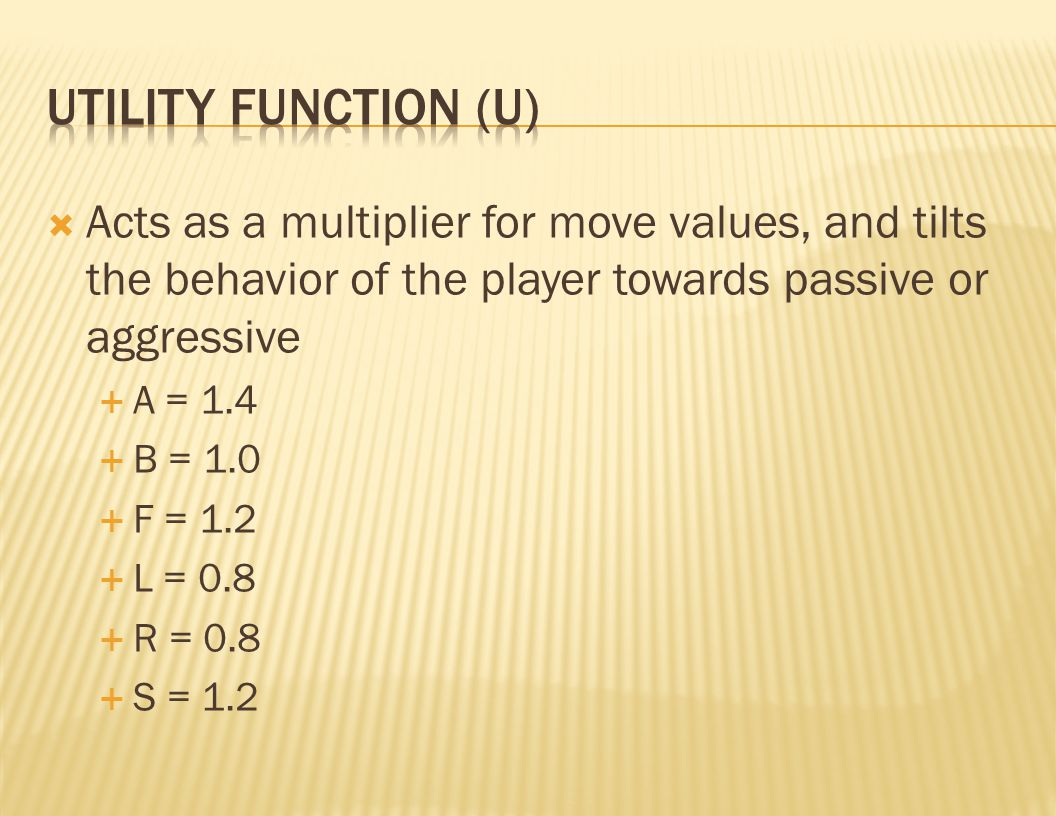  Acts as a multiplier for move values, and tilts the behavior of the player towards passive or aggressive  A = 1.4  B = 1.0  F = 1.2  L = 0.8  R = 0.8  S = 1.2