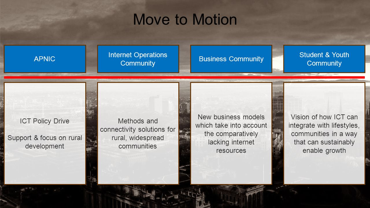 Move to Motion APNIC Internet Operations Community Business Community Student & Youth Community ICT Policy Drive Support & focus on rural development Methods and connectivity solutions for rural, widespread communities New business models which take into account the comparatively lacking internet resources Vision of how ICT can integrate with lifestyles, communities in a way that can sustainably enable growth