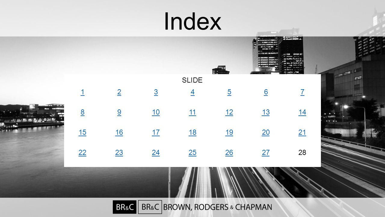 Index SLIDE 1234567 891011121314 15161718192021 22232425262728