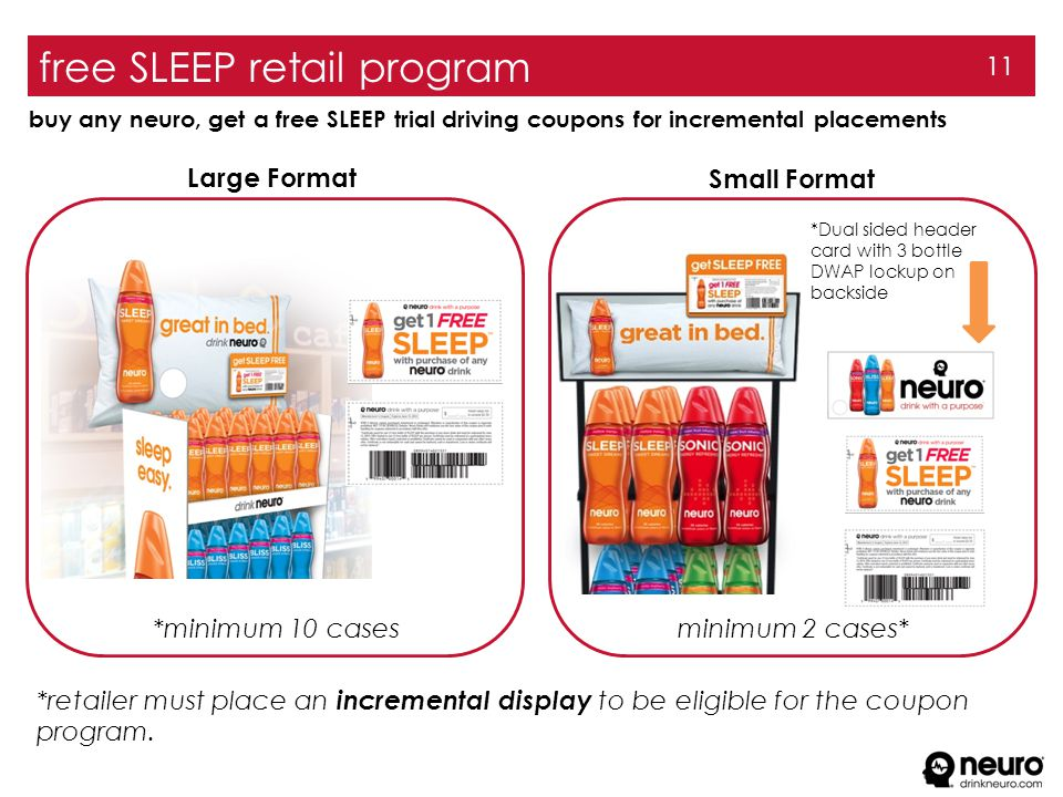 free SLEEP retail program 11 buy any neuro, get a free SLEEP trial driving coupons for incremental placements *retailer must place an incremental display to be eligible for the coupon program.