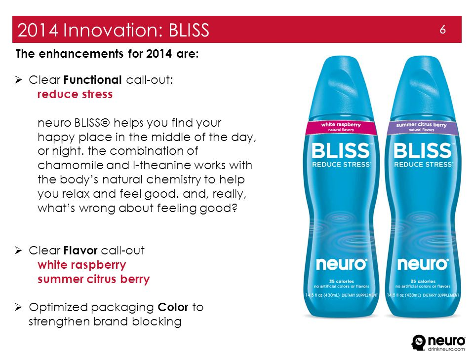 2014 Innovation: BLISS 6  Clear Functional call-out: reduce stress neuro BLISS® helps you find your happy place in the middle of the day, or night. t