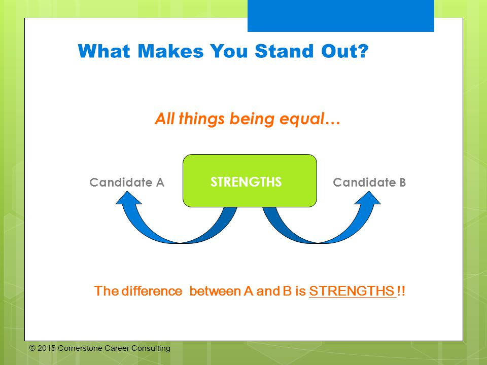 © 2015 Cornerstone Career Consulting What Makes You Stand Out.