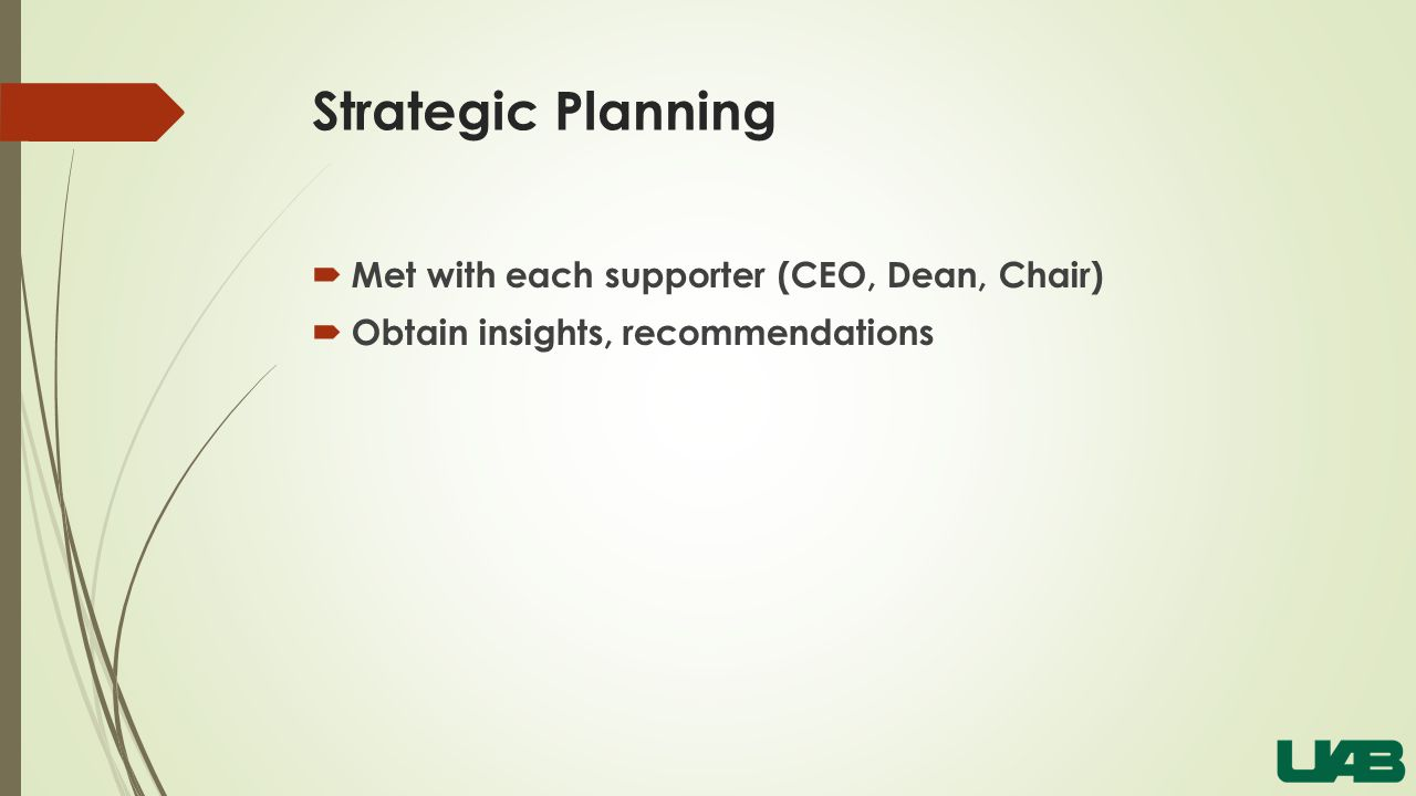 Strategic Planning  Met with each supporter (CEO, Dean, Chair)  Obtain insights, recommendations
