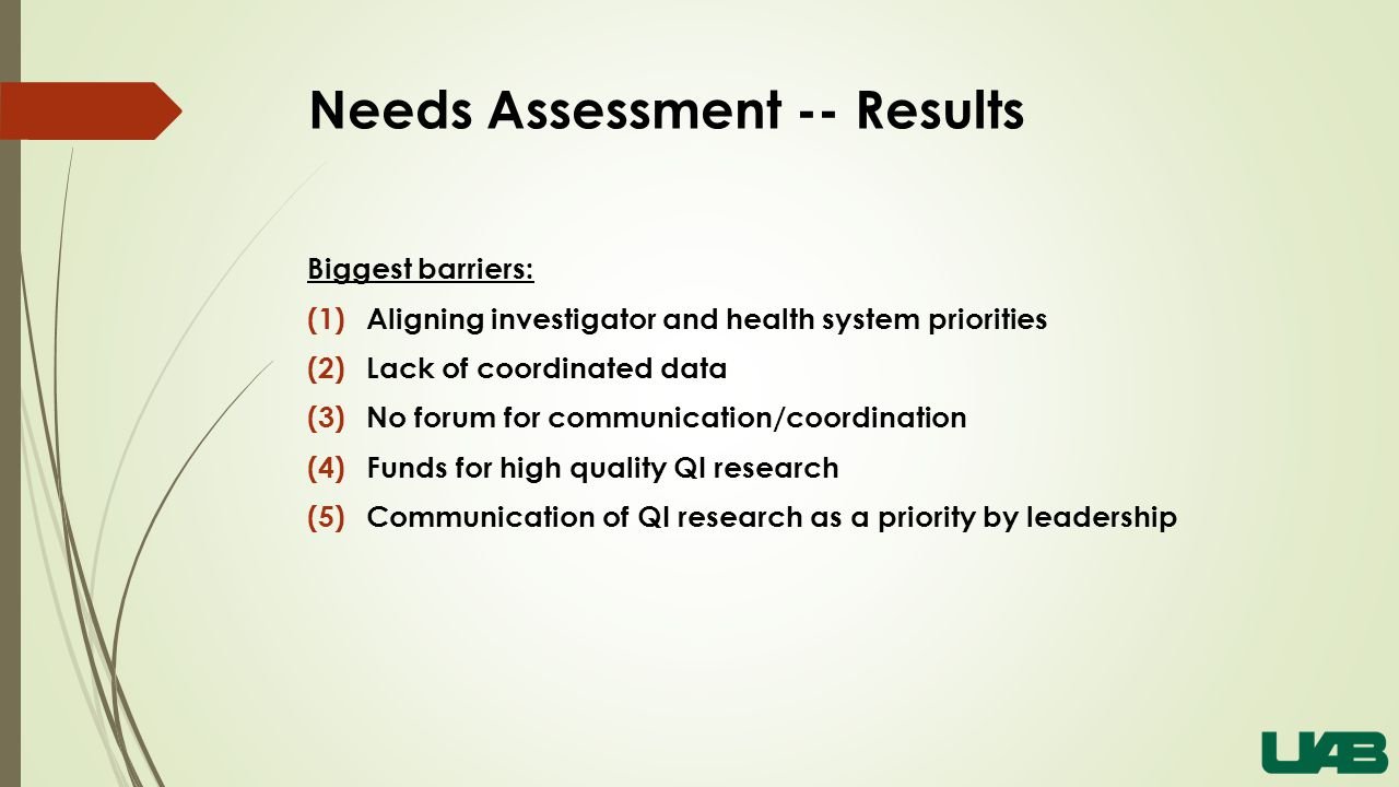 Needs Assessment -- Results Biggest barriers: (1)Aligning investigator and health system priorities (2)Lack of coordinated data (3)No forum for communication/coordination (4)Funds for high quality QI research (5)Communication of QI research as a priority by leadership