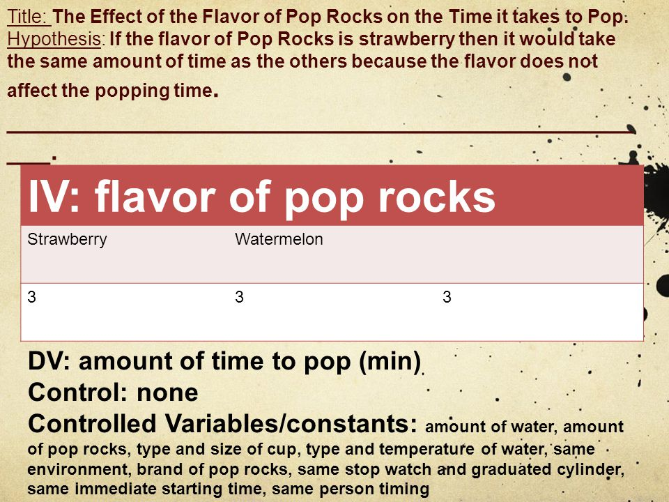 Title: The Effect of the Flavor of Pop Rocks on the Time it takes to Pop.