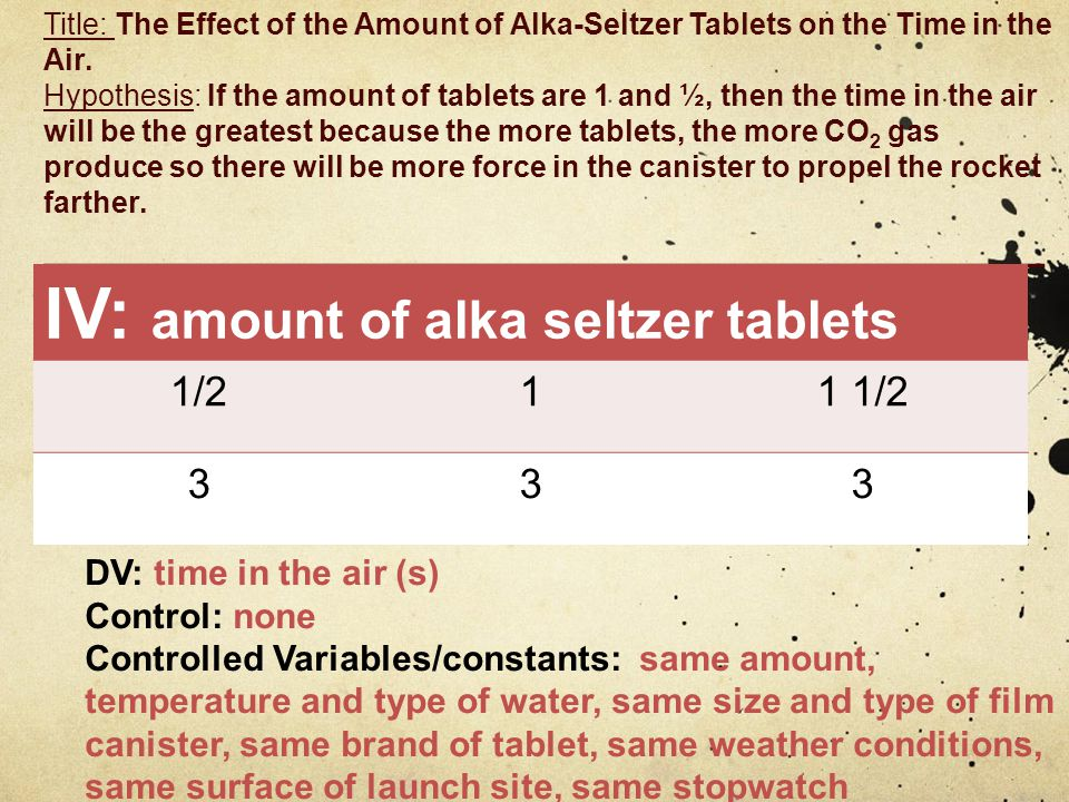 Title: The Effect of the Amount of Alka-Seltzer Tablets on the Time in the Air.