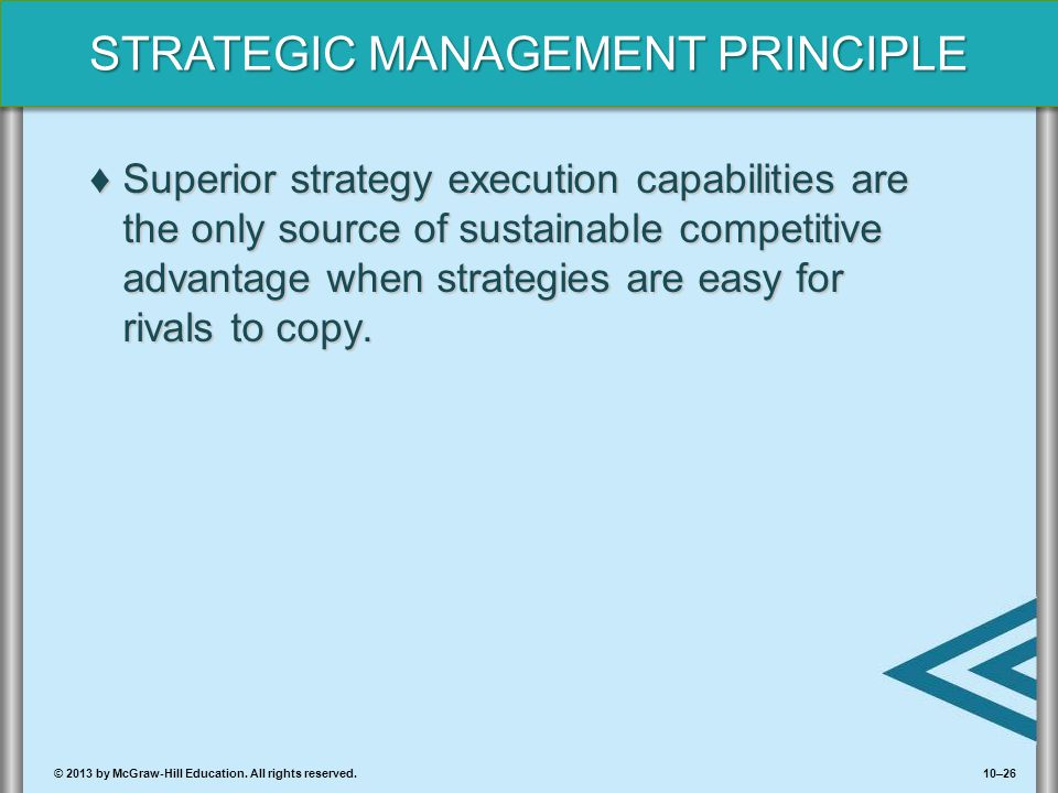10–26© 2013 by McGraw-Hill Education. All rights reserved. STRATEGIC MANAGEMENT PRINCIPLE ♦Superior strategy execution capabilities are the only sourc