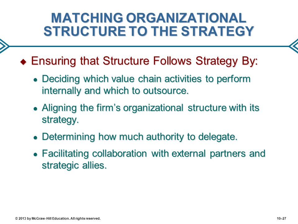 10–27© 2013 by McGraw-Hill Education. All rights reserved. MATCHING ORGANIZATIONAL STRUCTURE TO THE STRATEGY  Ensuring that Structure Follows Strateg