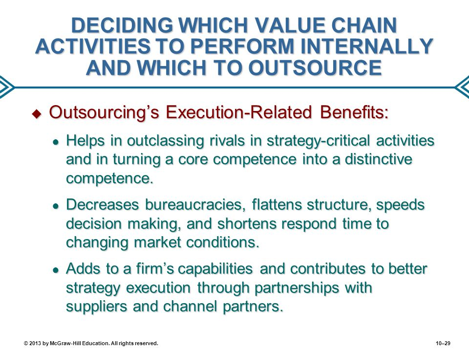 10–29© 2013 by McGraw-Hill Education. All rights reserved. DECIDING WHICH VALUE CHAIN ACTIVITIES TO PERFORM INTERNALLY AND WHICH TO OUTSOURCE  Outsou