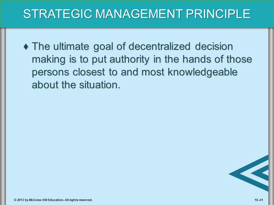 10–41© 2013 by McGraw-Hill Education. All rights reserved. STRATEGIC MANAGEMENT PRINCIPLE ♦The ultimate goal of decentralized decision making is to pu