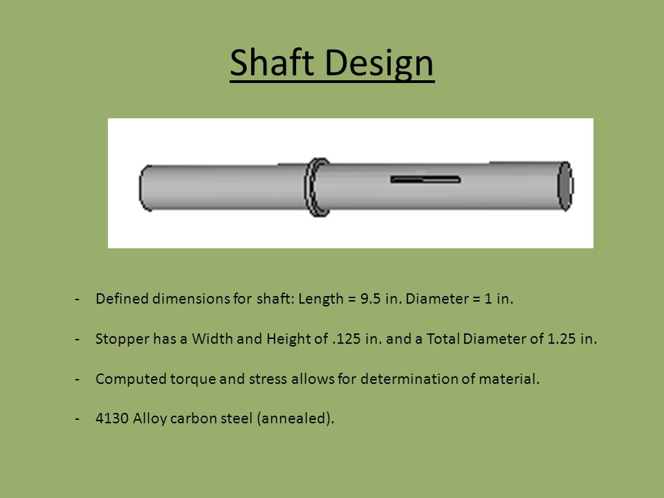 Shaft Design -Defined dimensions for shaft: Length = 9.5 in. Diameter = 1 in. -Stopper has a Width and Height of.125 in. and a Total Diameter of 1.25