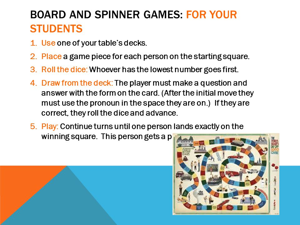 BOARD AND SPINNER GAMES: FOR YOUR STUDENTS 1.Use one of your table's decks.