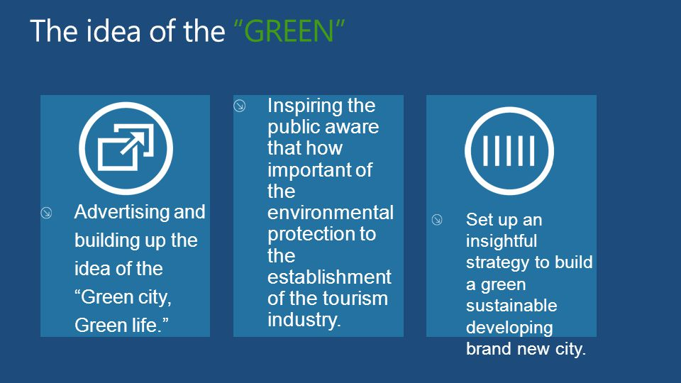 The idea of the GREEN Advertising and building up the idea of the Green city, Green life. Inspiring the public aware that how important of the environmental protection to the establishment of the tourism industry.