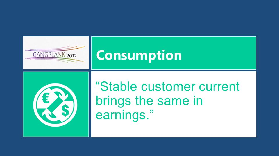Consumption Stable customer current brings the same in earnings.