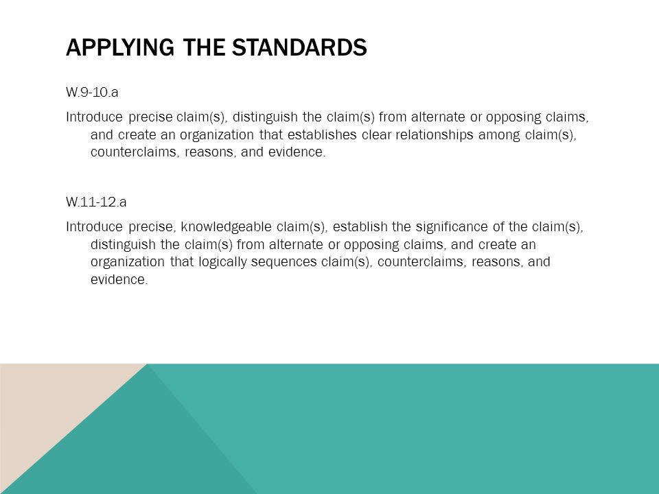 APPLYING THE STANDARDS W.9-10.a Introduce precise claim(s), distinguish the claim(s) from alternate or opposing claims, and create an organization that establishes clear relationships among claim(s), counterclaims, reasons, and evidence.