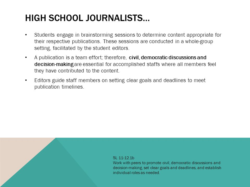 HIGH SCHOOL JOURNALISTS… Students engage in brainstorming sessions to determine content appropriate for their respective publications.