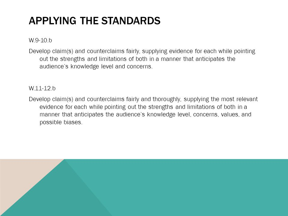 APPLYING THE STANDARDS W.9-10.b Develop claim(s) and counterclaims fairly, supplying evidence for each while pointing out the strengths and limitations of both in a manner that anticipates the audience's knowledge level and concerns.