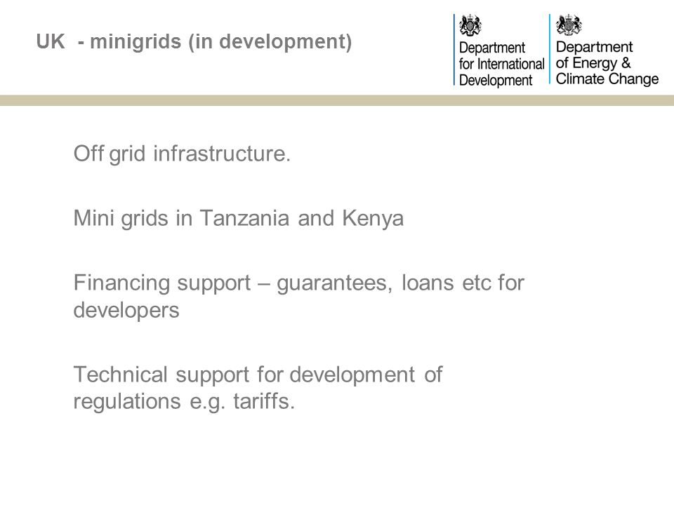 UK - minigrids (in development) Off grid infrastructure.