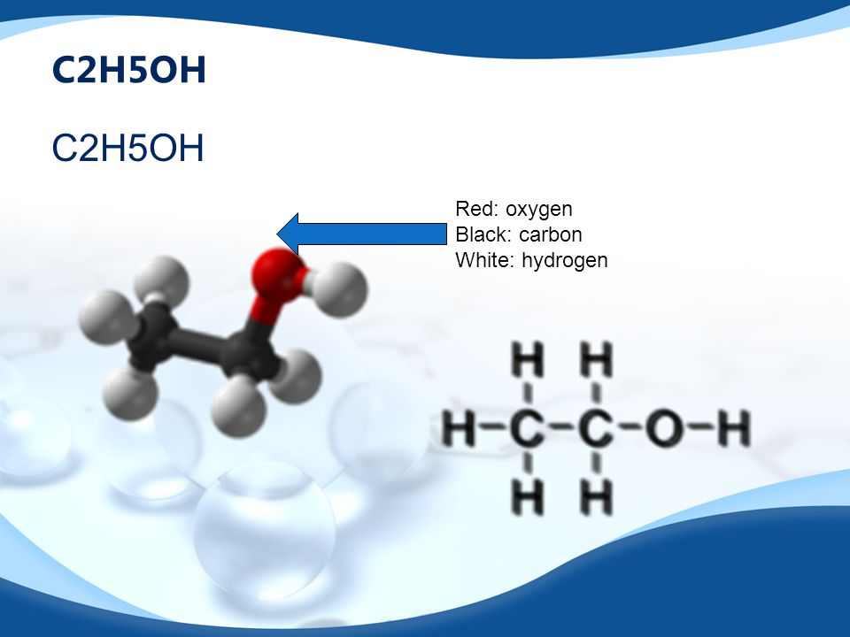 C2H5OH Red: oxygen Black: carbon White: hydrogen