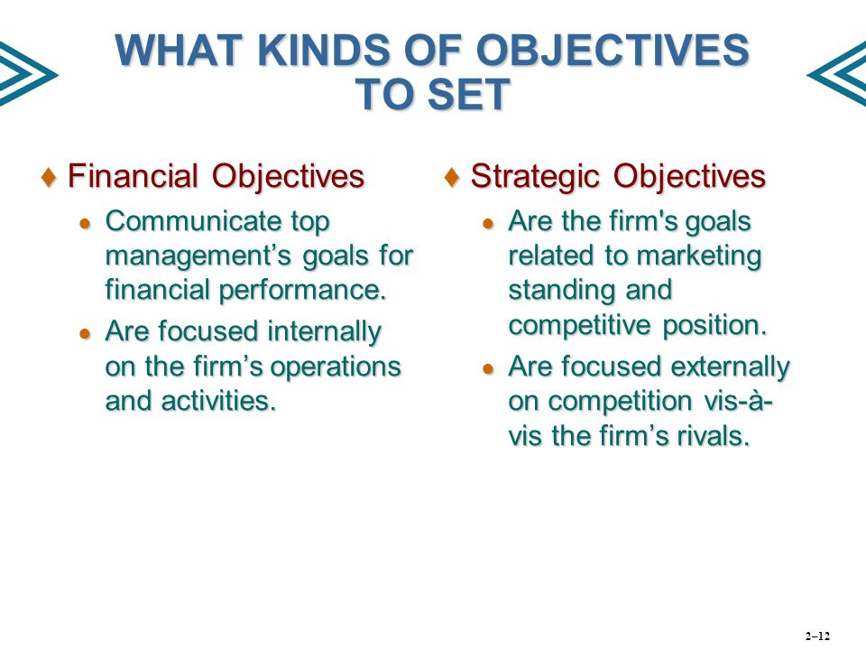 ♦Financial Objectives ● Communicate top management's goals for financial performance. ● Are focused internally on the firm's operations and activities