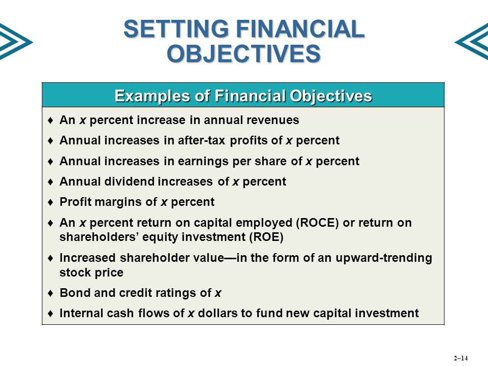 SETTING FINANCIAL OBJECTIVES Examples of Financial Objectives ♦An x percent increase in annual revenues ♦Annual increases in after-tax profits of x pe
