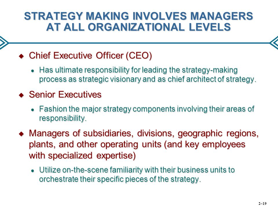 STRATEGY MAKING INVOLVES MANAGERS AT ALL ORGANIZATIONAL LEVELS  Chief Executive Officer (CEO) ● Has ultimate responsibility for leading the strategy-