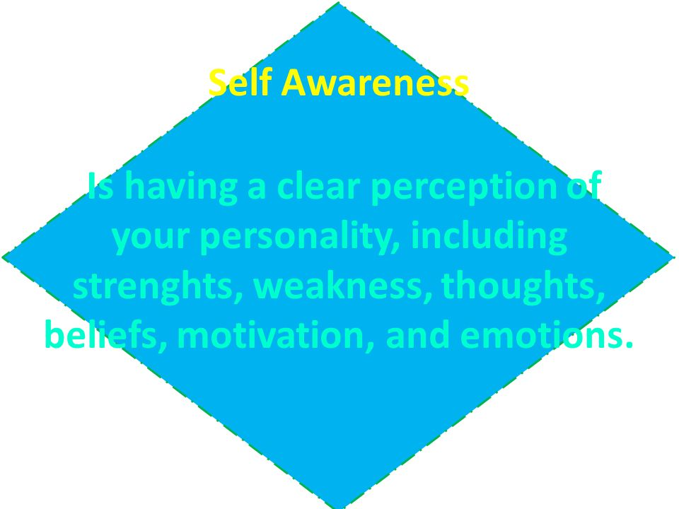 Self Awareness Is having a clear perception of your personality, including strenghts, weakness, thoughts, beliefs, motivation, and emotions.