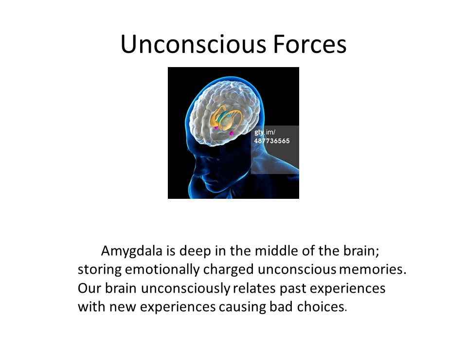 Unconscious Forces Amygdala is deep in the middle of the brain; storing emotionally charged unconscious memories.