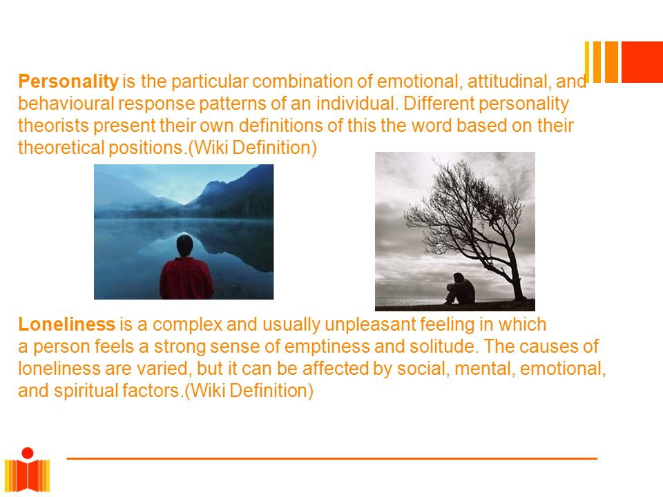 Personality is the particular combination of emotional, attitudinal, and behavioural response patterns of an individual.