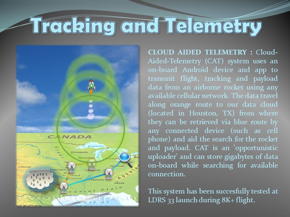 CLOUD AIDED TELEMETRY : Cloud- Aided-Telemetry (CAT) system uses an on-board Android device and app to transmit flight, tracking and payload data from an airborne rocket using any available cellular network.