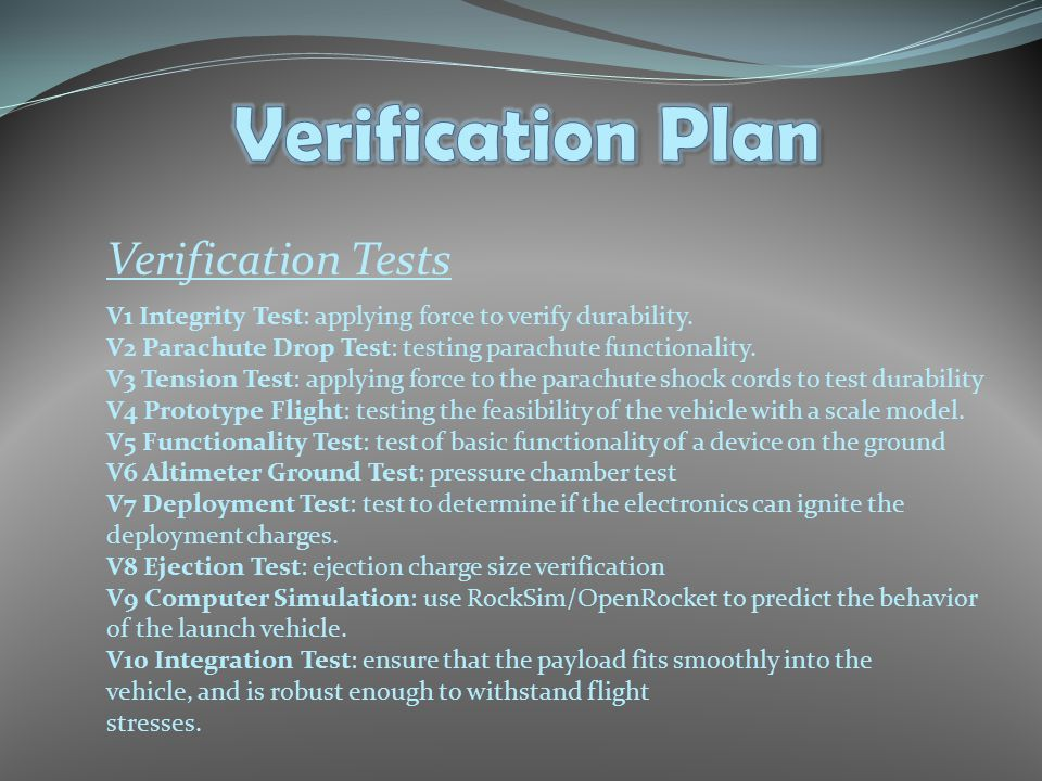 Verification Tests V1 Integrity Test: applying force to verify durability.