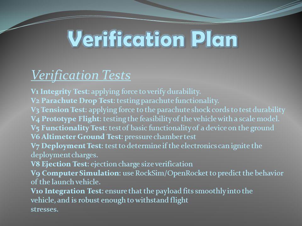 Verification Tests V1 Integrity Test: applying force to verify durability. V2 Parachute Drop Test: testing parachute functionality. V3 Tension Test: a