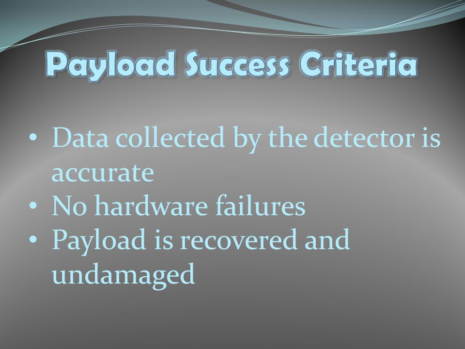 Data collected by the detector is accurate No hardware failures Payload is recovered and undamaged