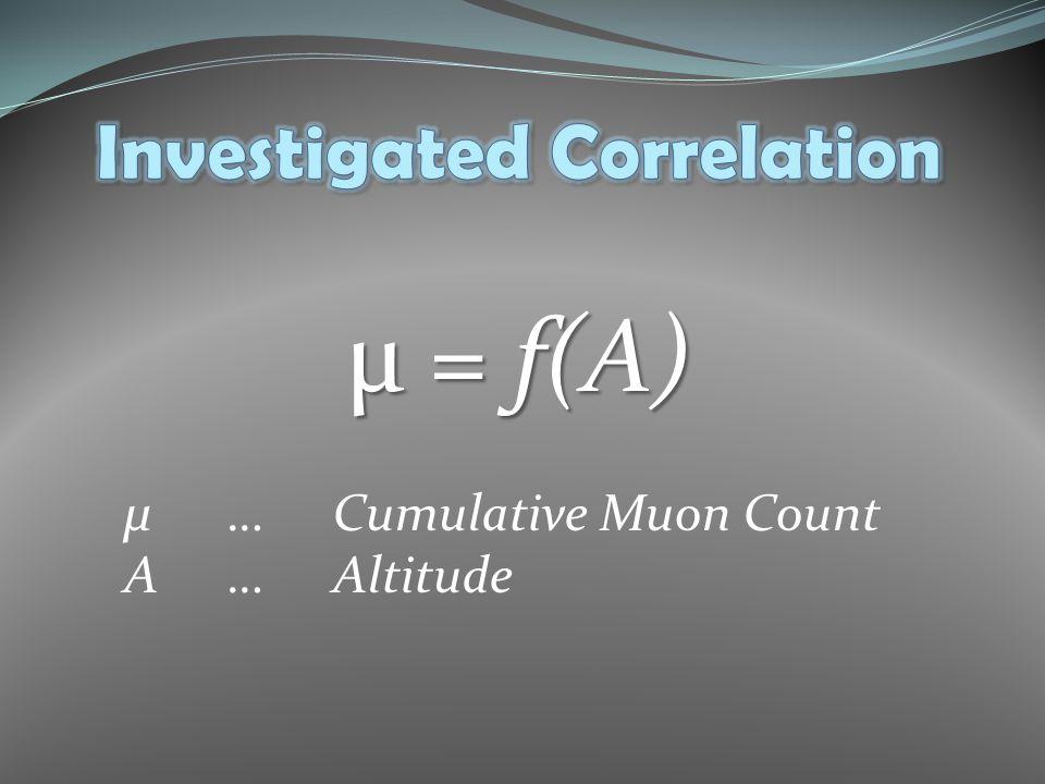 µ = f(A) µ…Cumulative Muon Count A…Altitude