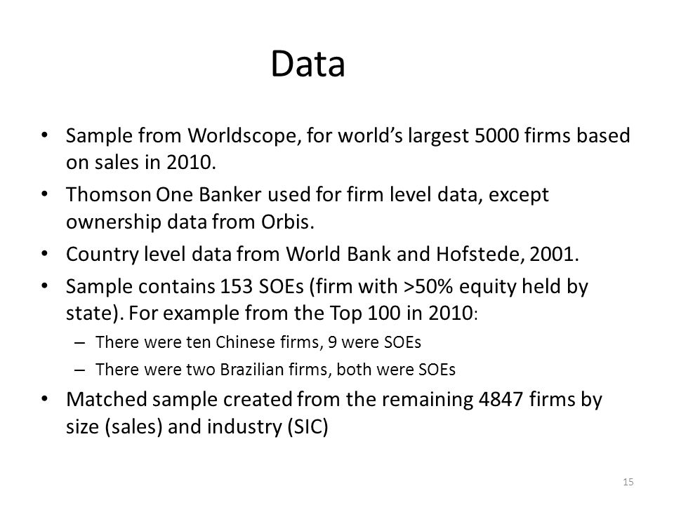Data Sample from Worldscope, for world's largest 5000 firms based on sales in 2010.