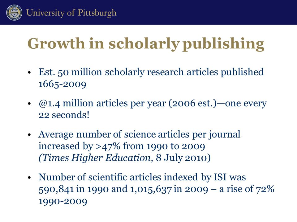 Growth in scholarly publishing Est.