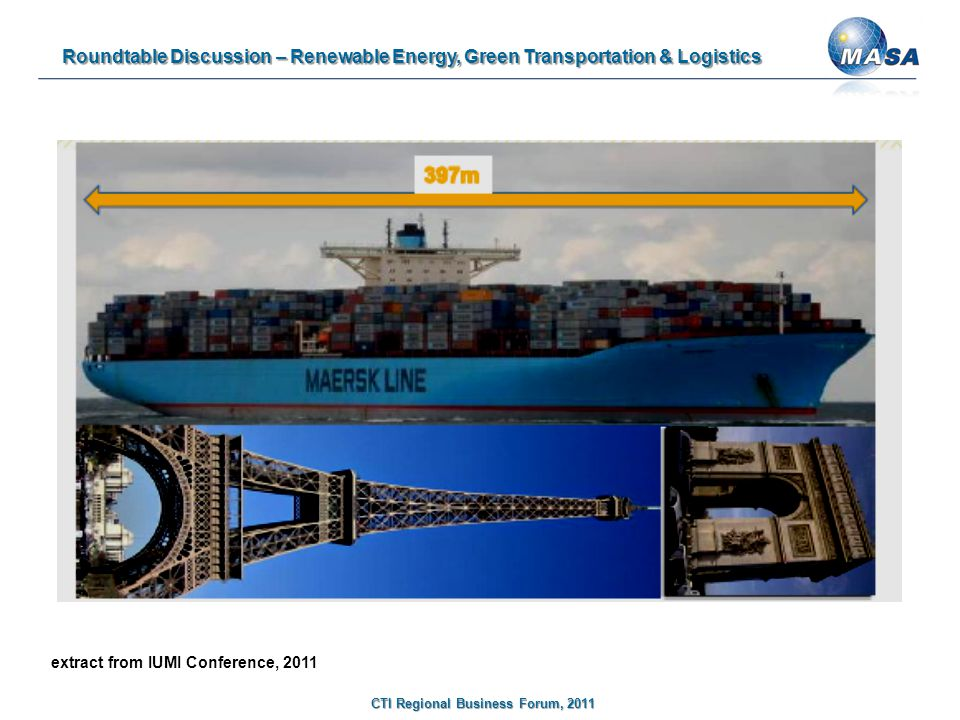 Roundtable Discussion – Renewable Energy, Green Transportation & Logistics CTI Regional Business Forum, 2011 extract from IUMI Conference, 2011