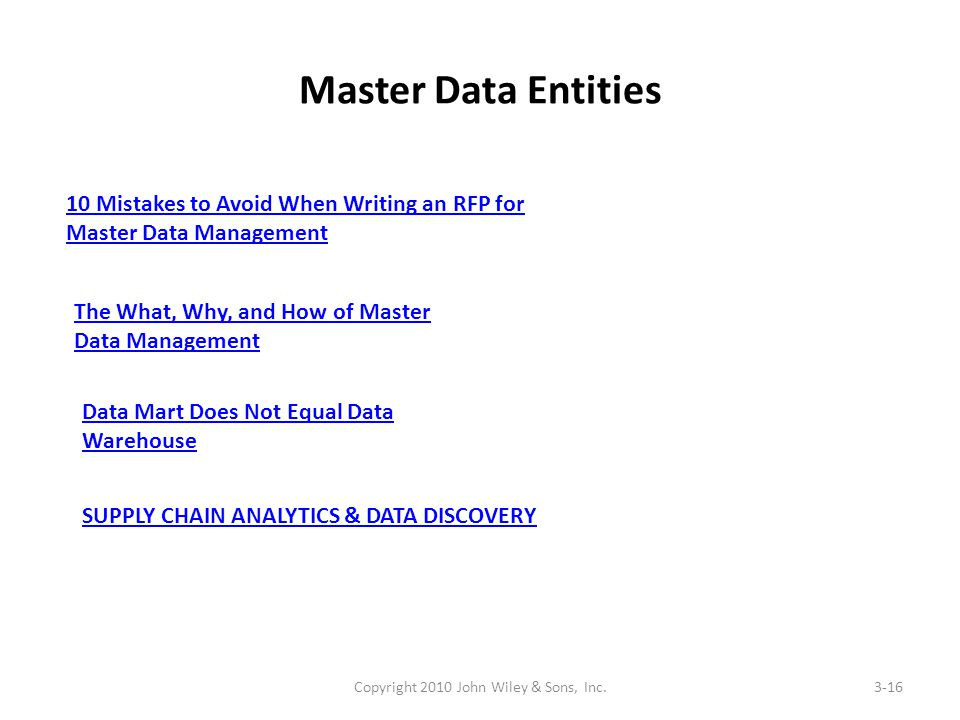 Master Data Entities Copyright 2010 John Wiley & Sons, Inc.3-16 10 Mistakes to Avoid When Writing an RFP for Master Data Management The What, Why, and How of Master Data Management Data Mart Does Not Equal Data Warehouse SUPPLY CHAIN ANALYTICS & DATA DISCOVERY