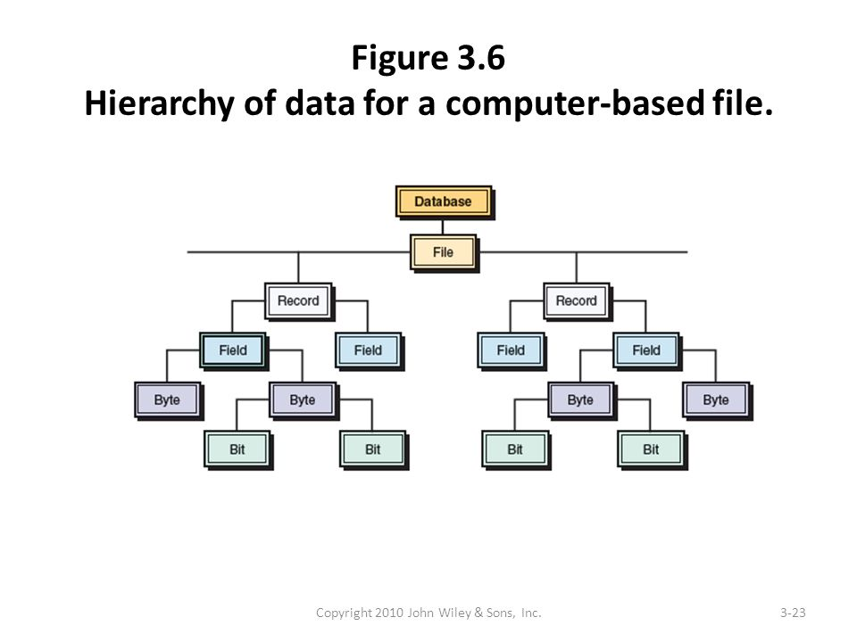Figure 3.6 Hierarchy of data for a computer-based file. Copyright 2010 John Wiley & Sons, Inc.3-23